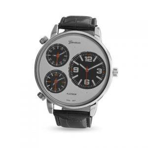 Black Leather Three Dial Fashion Watch
