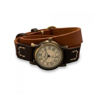 """16.5"""" Brown and Orange Leather Wrap Fashion Watch"""