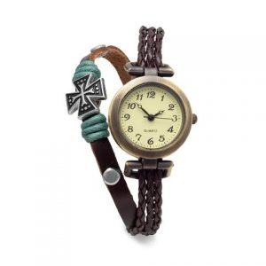 Brown Triple Strand Leather Fashion Watch